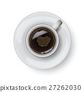 Coffee cup on plate realistic isolsted on white 27262030
