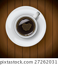 Coffee cup on plate realistic on wood background 27262031