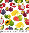Exotic fresh fruits vector pattern 27263377