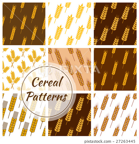 Wheat cereal grain, rye ears seamless patterns set 27263445
