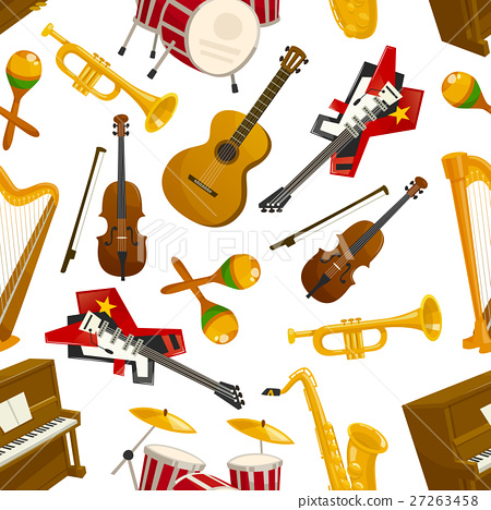 Musical instruments seamless pattern vector 27263458
