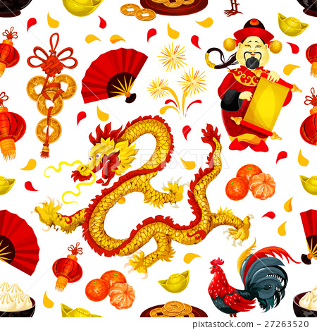 Chinese New Year seamless pattern background 27263520