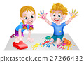 Cartoon Boy and Girl with Car and Paints 27266432