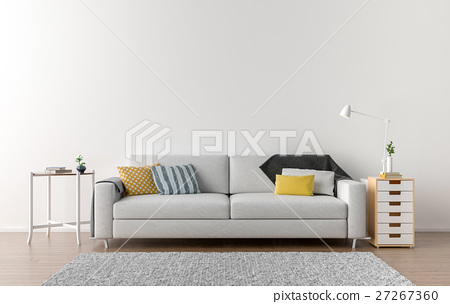 Empty living room with white wall 27267360