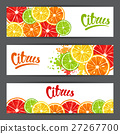 Banners with citrus fruits slices. Mix of lemon 27267700
