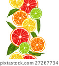 Seamless pattern with citrus fruits slices. Mix of 27267734