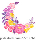 Decorative element with delicate flowers. Object 27267761