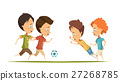 Boys Playing Soccer Cartoon Style Illustration 27268785