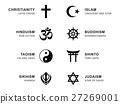 World religion symbols with English labeling 27269001