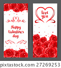 Happy Valentine day banners with red realistic 27269253
