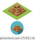 Chichen Itza icons in isometric style, vector 27282116