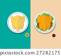 Top view Headless Steamed chicken and Roasted duck 27282175