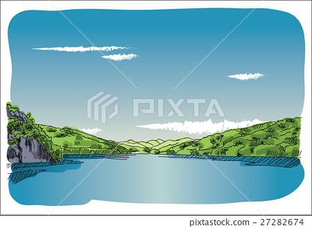 Digital vector sketch lake at transfagaras 27282674