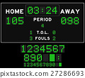 Basketball score board with green square led  27286693