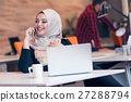 Arabic business woman wearing hijab,working in 27288794