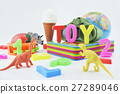 Colorful plastic toys on white background 27289046