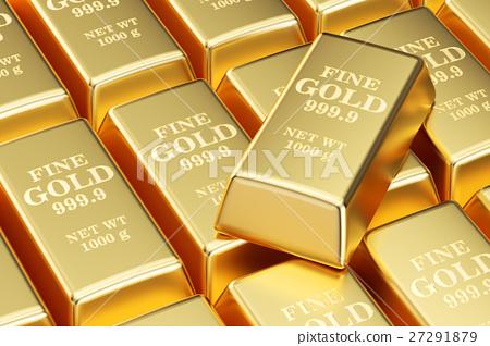 golden bars background, 3D rendering 27291879