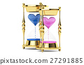 hourglasses with hearts, 3D rendering 27291885