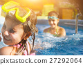 Two little girls having fun in the pool 27292064