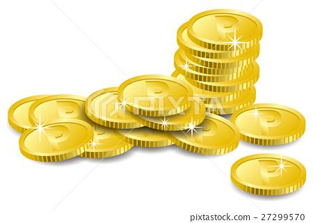 在混亂安置的硬幣的例證 27299570