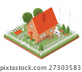 Flat 3d isometric house 27303583