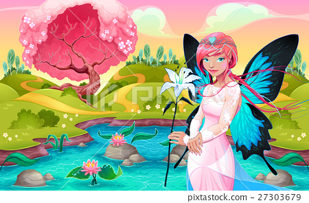 Portrait of a young fairy in a fantasy landscape 27303679