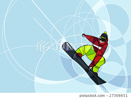 Snowboarder jumping, abstract image 27306651
