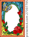 Stained Glass Flowers Butterfly 27307705