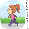 Girl Jogging Fitness Tracker 27307751