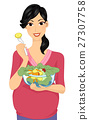 Girl Pregnant Vegetable Salad 27307758