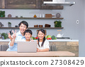 컴퓨터를 사용하는 가족 아버지 아버지 남매 공부 식당 주방 생활 숙제하는 초등학생 27308429