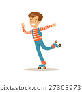 Boy Roller Skating, Traditional Male Kid Role 27308973
