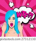 Angry young blue hair girl pop art 27312130
