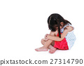 Sad asian girl barefoot sitting on floor 27314790