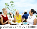Mature Friends Fine Dining Outdoors Concept 27318009