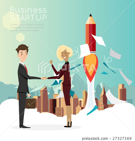 Businessman handshake with city for start up  27327169