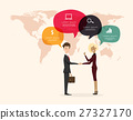 Businessman handshake with world map background 27327170