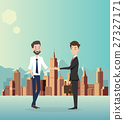 Businessman handshake with city background. 27327171