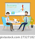 Business people talking at working office space. 27327182