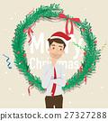 Businessman wear santa hat with christmas 27327288