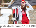 woman winter outdoor snowboarding concept. 27331399