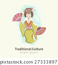 Dancing Geisha with fan 27333897