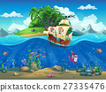 Piirate ship on background of tropical island 27335476