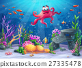 Vector illustration of sea landscape with octopus 27335478