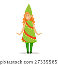 Girl In Christmas Tree Outfit Dressed As Winter 27335565