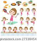 Straight bangs hair pink blouse women cooking 27336454