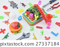Colorful plastic toys on white background 27337184