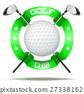 Golf clubs and ball with ribbons 27338162