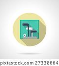 Golf sticks kit flat round vector icon 27338664