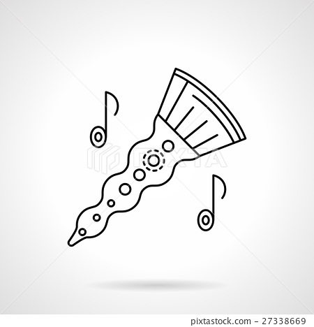 Woodwind horn flat line vector icon 27338669